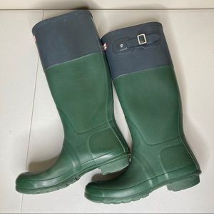 Hunter original color block green and blue boots